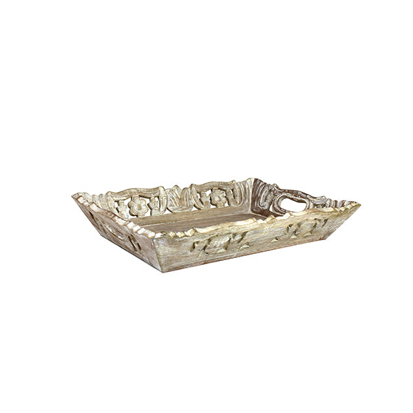 Wisteria Tray Medium in Distressed Ivory over Natural