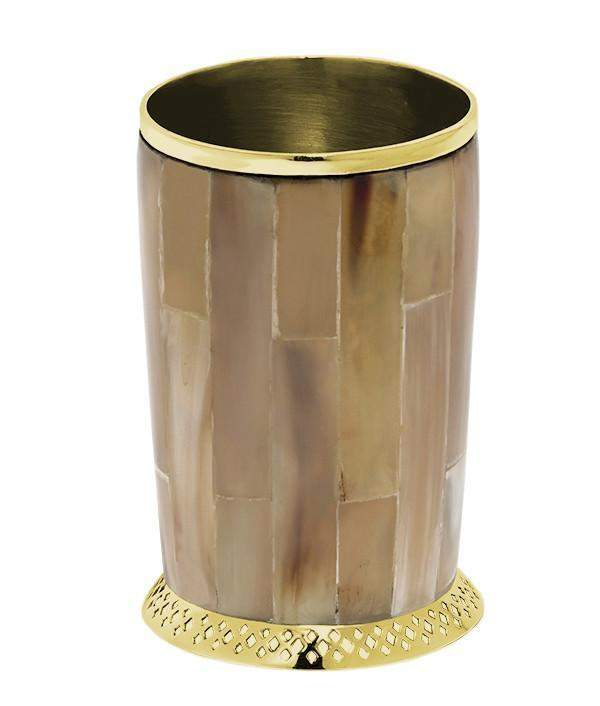Monarch Cylinder Vase In Light Horn & Brass