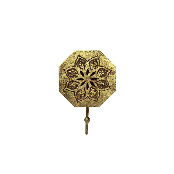 Serena Octagon Single Hook in Distressed Gold