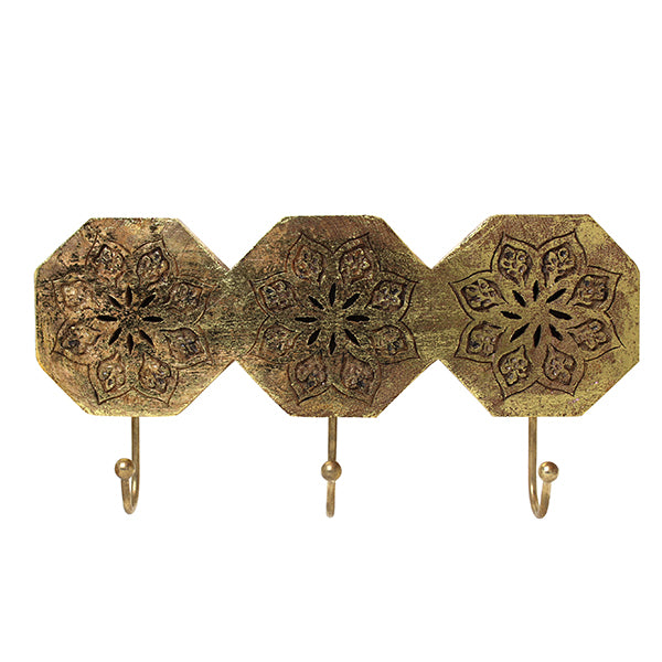 Serena Octagon Triple Hook in Distressed Gold