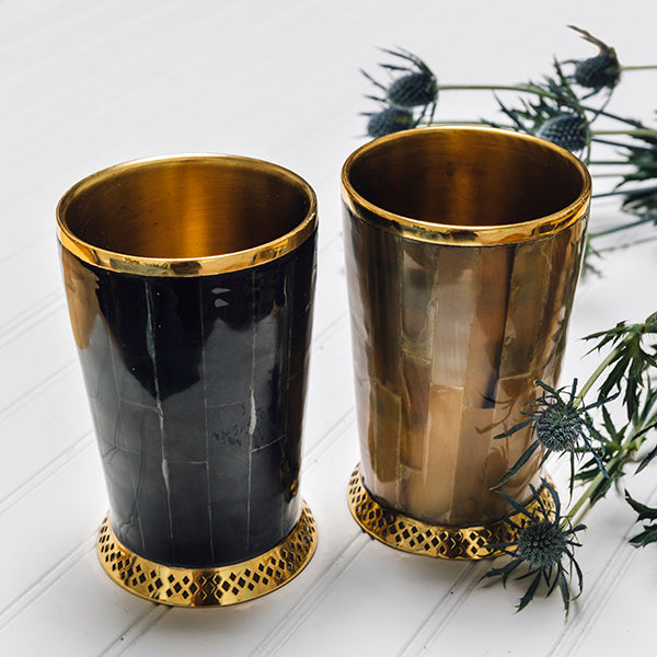 Monarch Cylinder Vase in Dark Horn & Brass