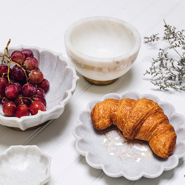 Moti Nut Bowl in Marble & Mother of Pearl