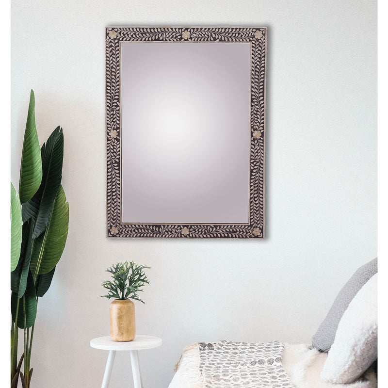 Imperial Beauty Bone Inlay Wall Mirror in Black & White
