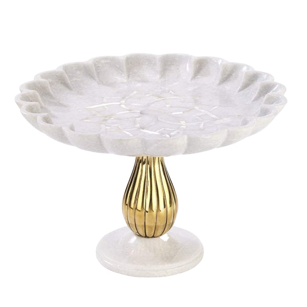 Noor Cake Stand in Marble & Brass