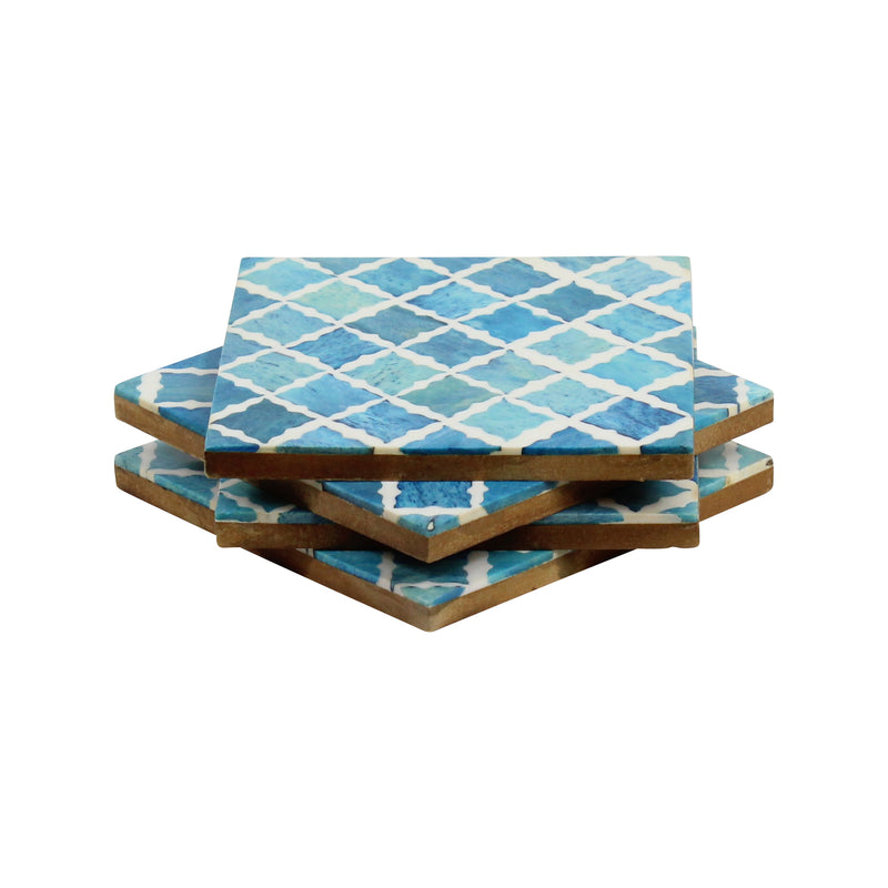 Fantasy Coaster in Turquoise & White, Set of 4