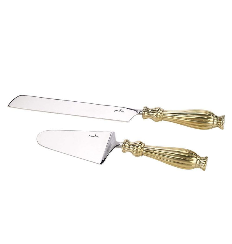 Noor Cake Server Set in Brass & Stainless Steel