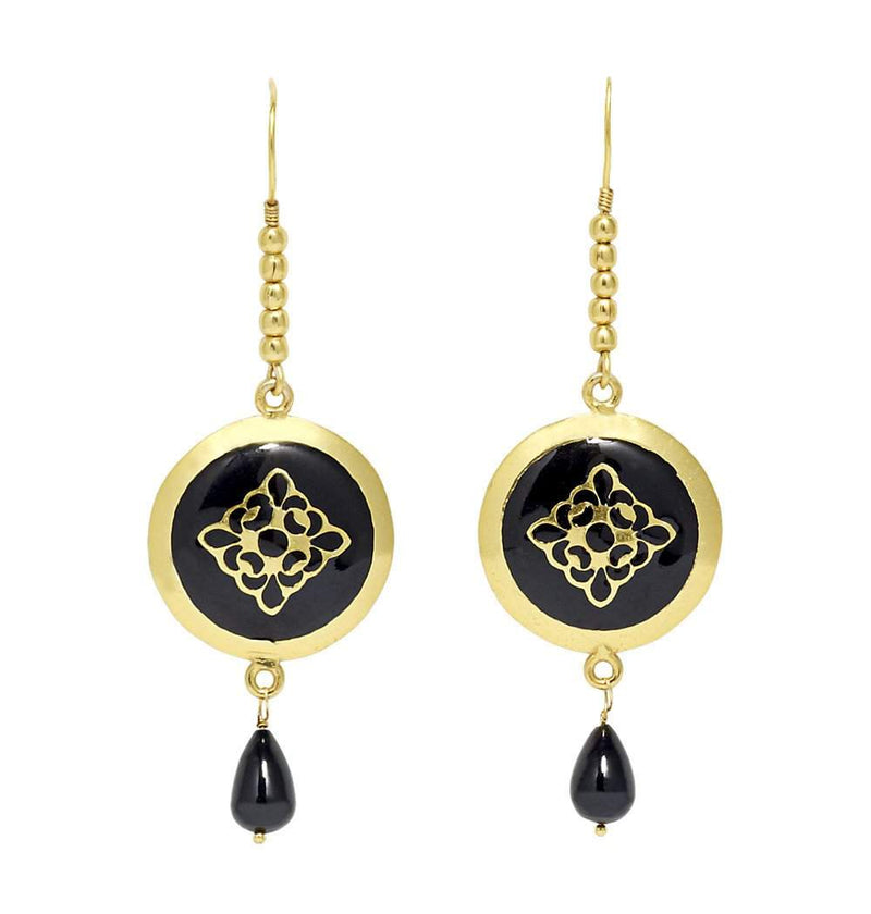 Bold Baroque Earrings in Black & Gold