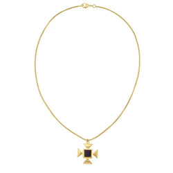 Toda Pendant Necklace in Black & Gold