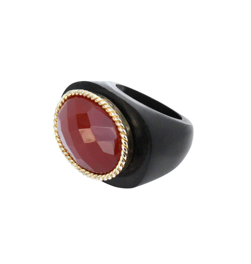Ziba in Dark Horn/Red Onyx/Gold Oval Bezel Stone Ring