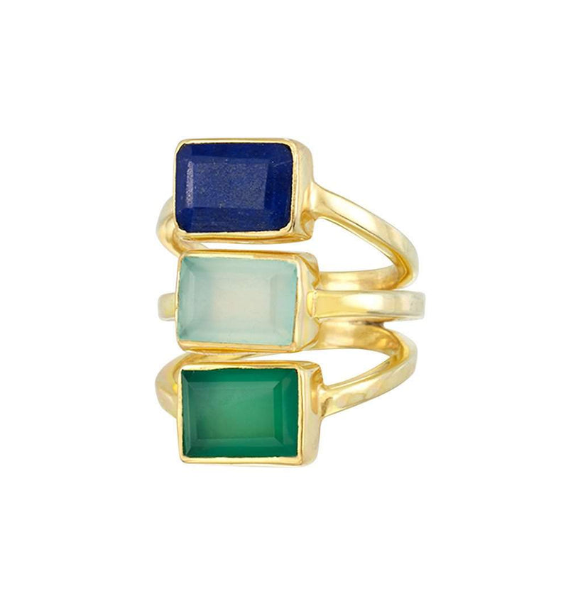 Hidden Cay Ring in Aqua, Green, & Purple