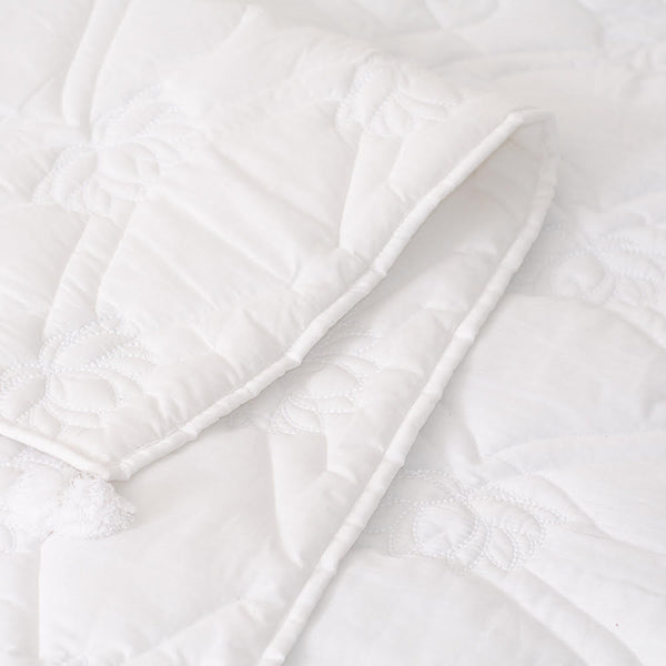 Heritage Refined Quilted Throw with Lotus Motif in White