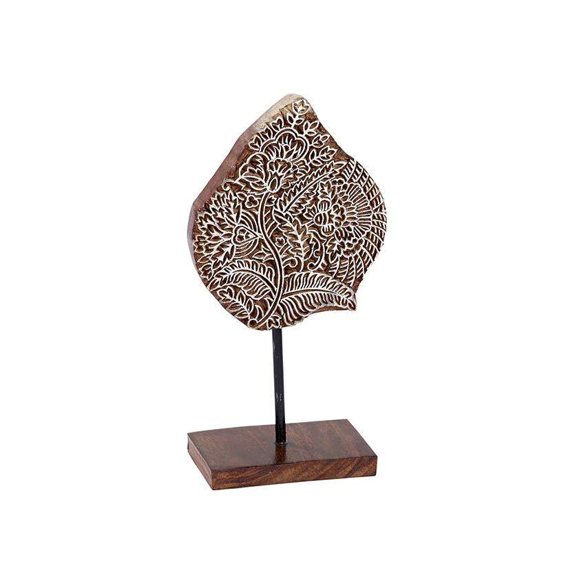 Kalamkari in White Wood Block, Floral