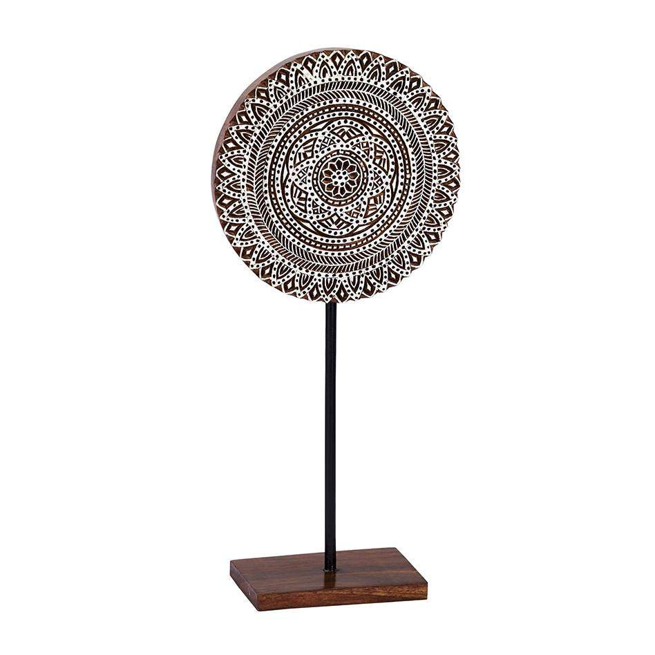 Kalamkari in White Wood Block, Medallion