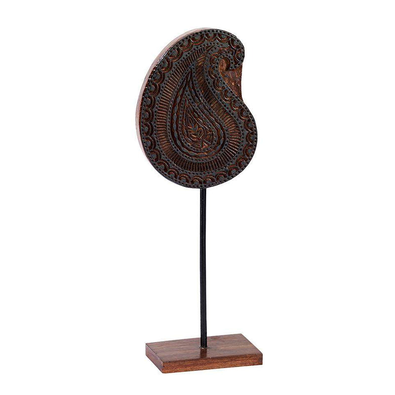 Kalamkari in Black Wood Block, Paisley