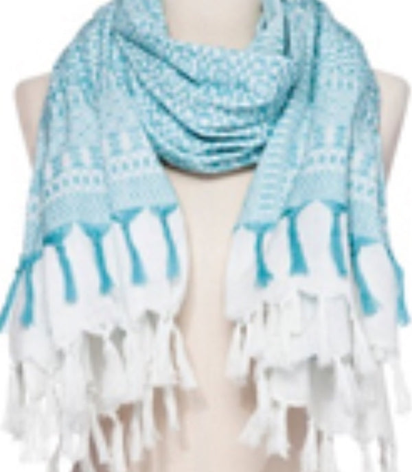 Nadia Scarf in White and Hot Coral