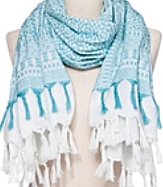 Nadia Scarf in White & Aqua