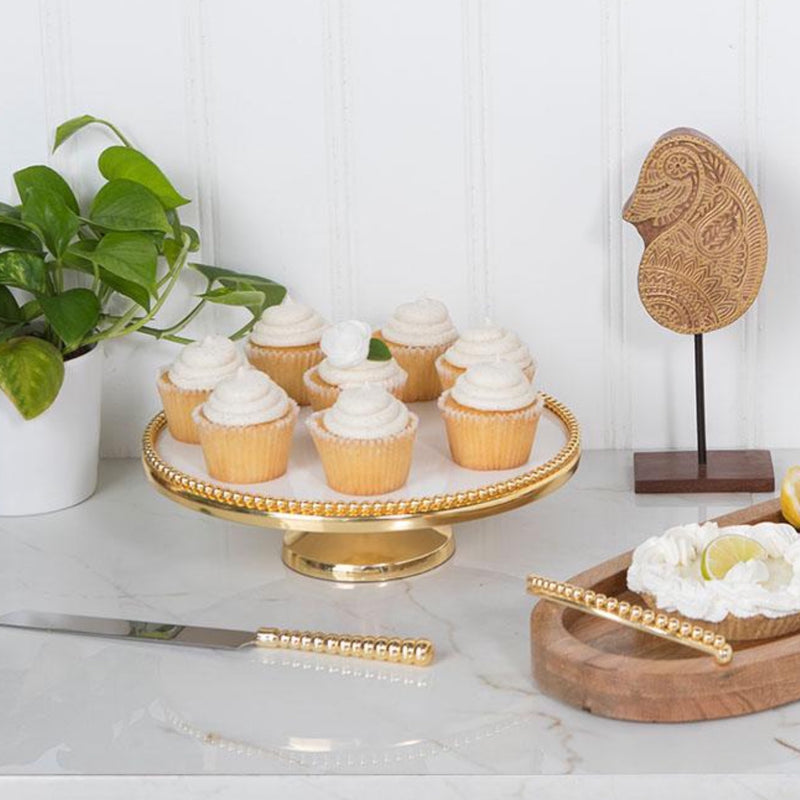 Raj Palace Cake Plate in White & Gold