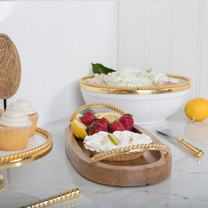 Raj Palace Oval Tray in Natural & Gold