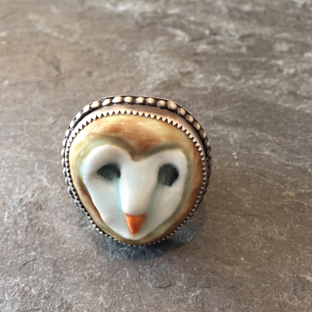 Arrok Metal Studio Ceramic Owl Ring