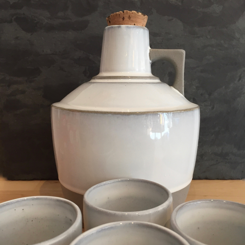 Ceramic Growler & Set of 4 Cups