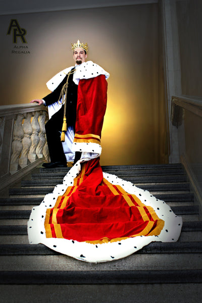 Original Series King's coronation Robe with Gold Trim and a Train (Red)