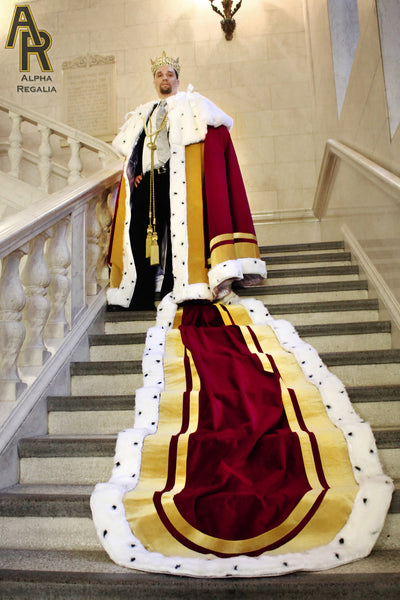 Sovereign Series King's Coronation Robe With Gold Trim and a Train (Burgundy)