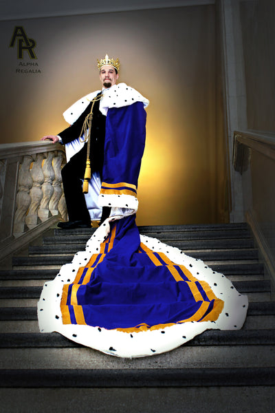 Original Series King's coronation Robe with Gold Trim and a Train (Blue)
