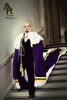 Original Series King's coronation Robe with Gold Trim and a Train (Purple)