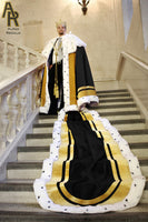 Sovereign Series King's Coronation Robe With Gold Trim and a Train (Black)