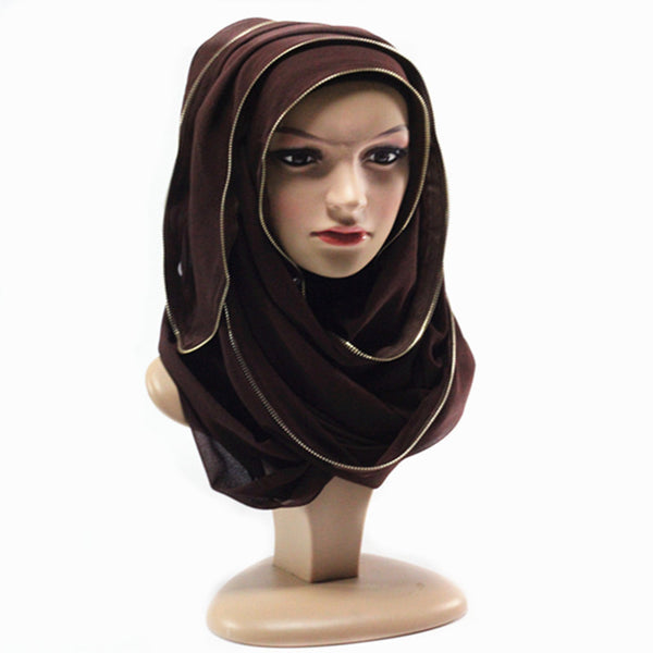 Brown Zipper Hijab