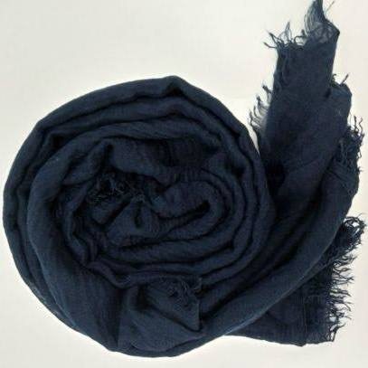 Navy Blue Cotton Crinkle Hijab