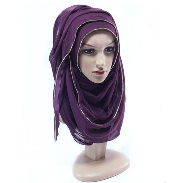 Purple Zipper Hijab