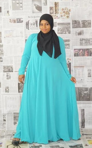 Flowy Abaya Dress Turquoise
