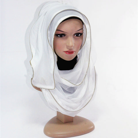 White Zipper Hijab