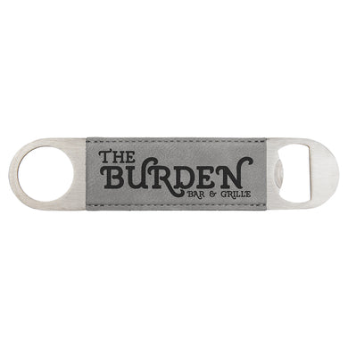 Grey Leather Bottle Opener - Black Engraving
