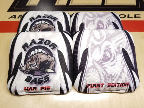 Razor War Pig <br> White Tribal <br> New Pro Cornhole Bags
