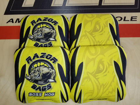 Razor Boss Hog <br> Yellow Tribal <br> New Pro Cornhole Bags