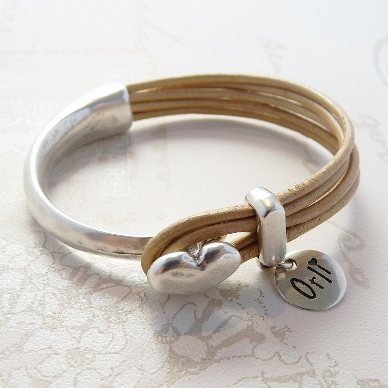 Orli Leather Heart Bangle