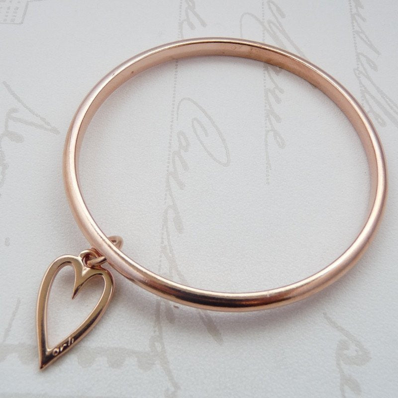 Orli Mini Open Heart Bangle in Rose Gold
