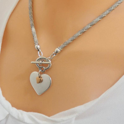 Orli Jewellery - Pleated Leather Heart Necklace - Grey
