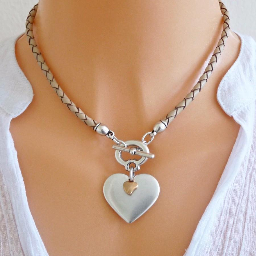 Orli Jewellery - Pleated Leather Heart Necklace - Nude