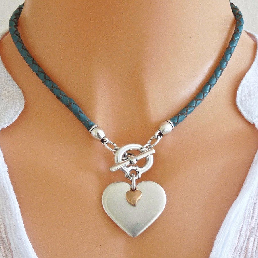 Orli Jewellery - Pleated Leather Heart Necklace Turquoise