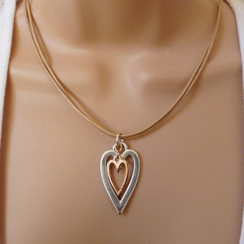 Orli Open Heart and Mini Heart Leather Strands Necklace