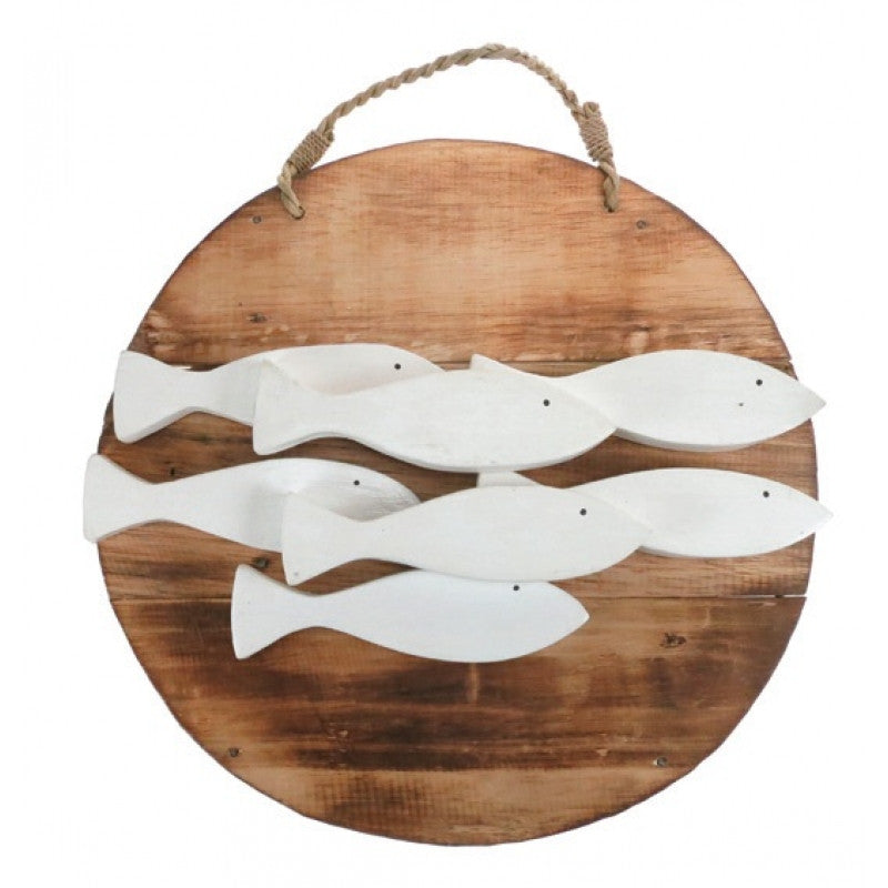 Wooden Plaque with White Ceramic Fish