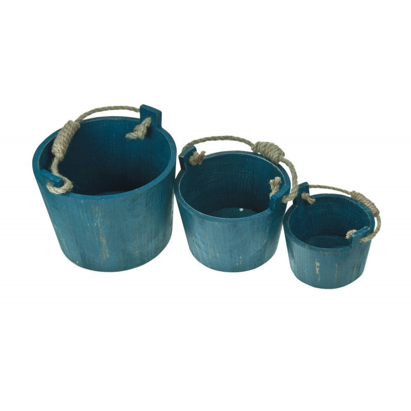 Set of 3 Blue painted Wooden Buckets with Rope Handle