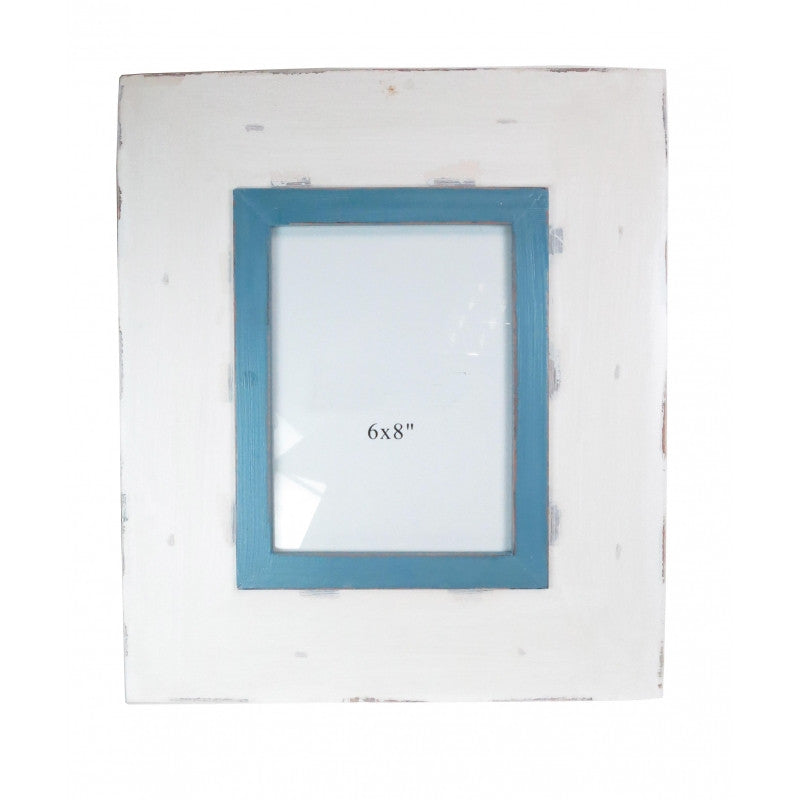 Large Blue and White Distressed Wooden Photo Frame