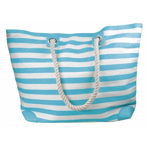 Blue and White Striped Beach Bag with Rope Handles