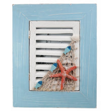 Blue and White Wooden Window with Shutter Frame