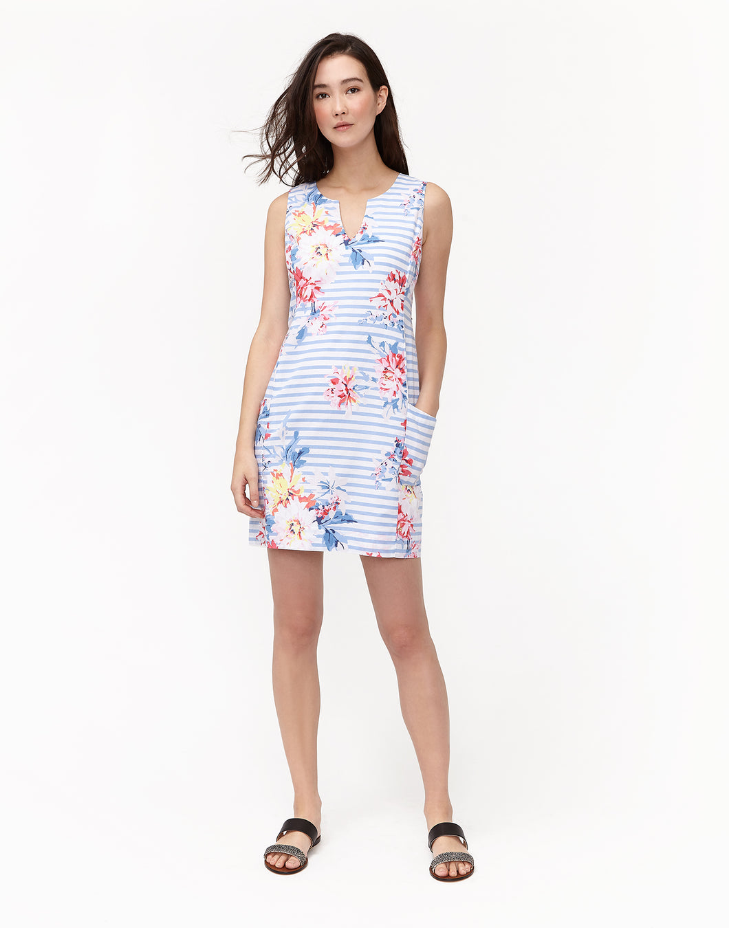 Joules Notch Neck Linen/ Cotton Printed Shift Dress - White Stripe Whitstable Floral