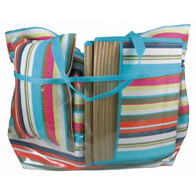 Striped Beach Bag with Beach Mat and Cushion